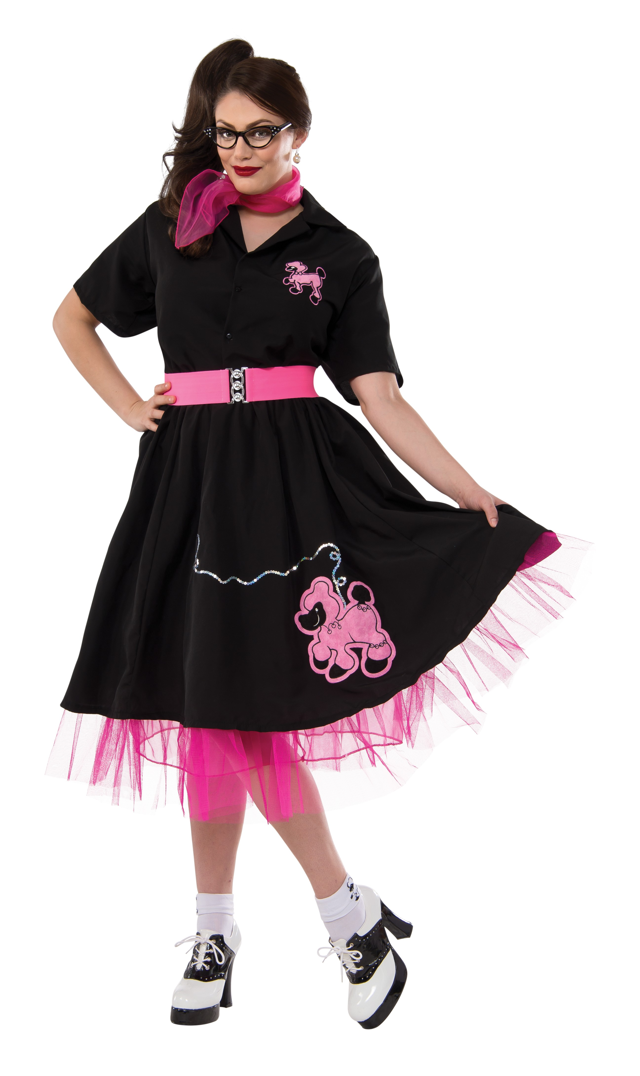 Complete Poodle Skirt Outfit (Black u0026 Pink) Adult Plus Costume - PartyBell.com