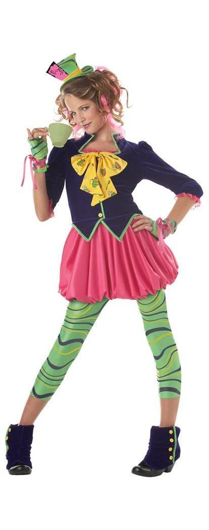 Mad Hatter Alice Wonderland Girl Dress Costume Tween ...