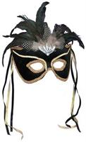Black Feather Couples Mask