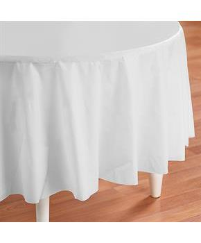 Bright White (White) Round Plastic Tablecover - White (25576-36813 Creative Converting) photo