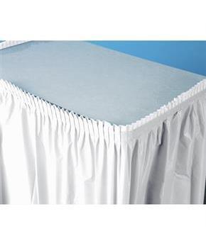 Bright White (White) Plastic Table Skirt - White (25856-37097 Creative Converting) photo