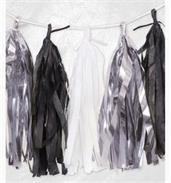 Tissue Garland - Black, White, Silver