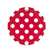 Red and White Dots Dessert Plates (8)