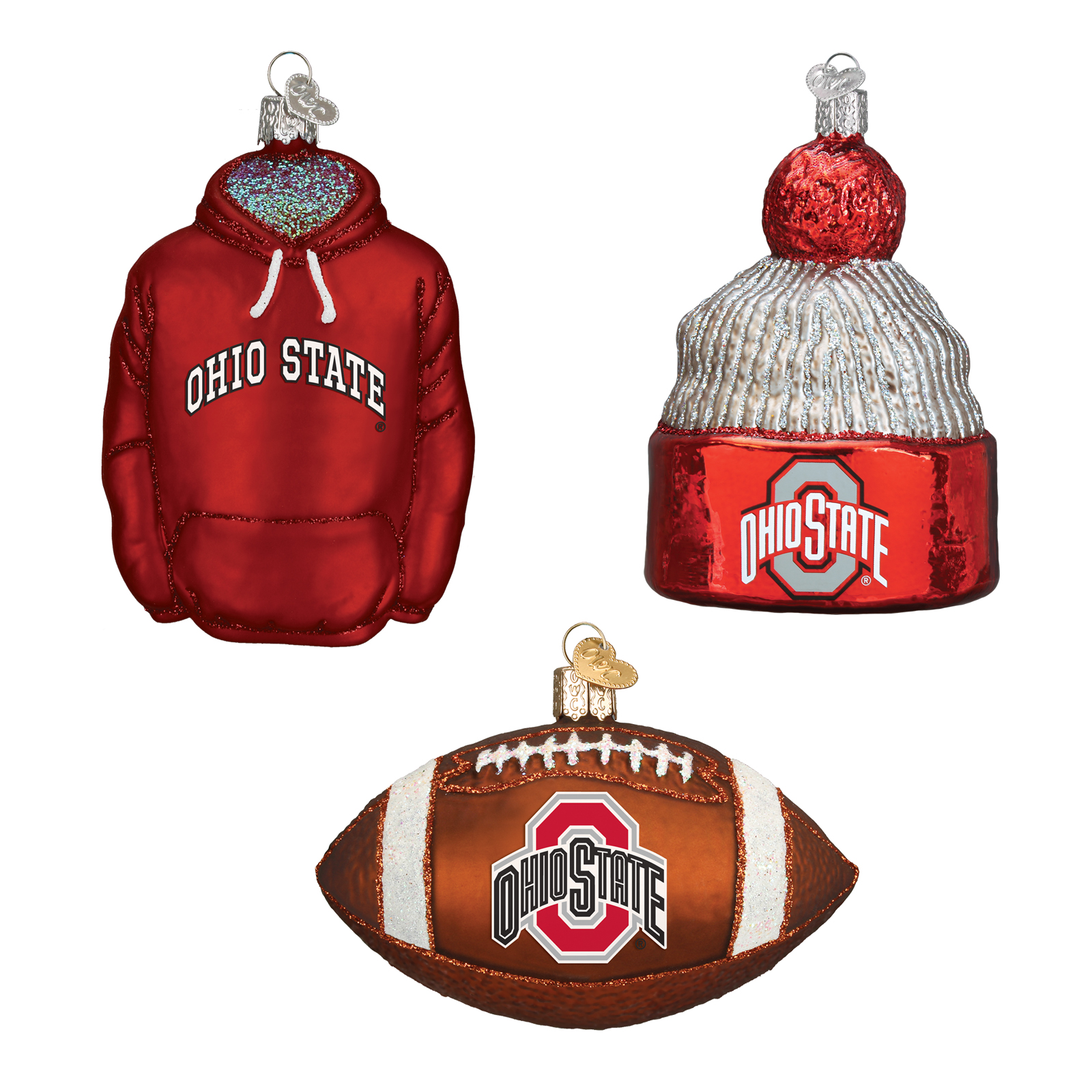 Ohio State Football Christmas Ornaments (3) - PartyBell.com