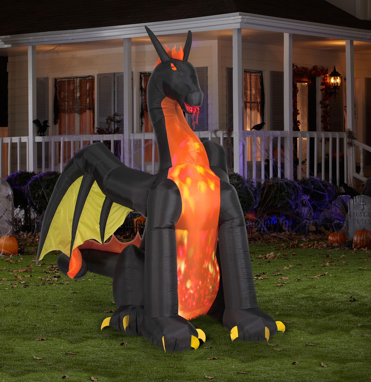 Projection Animated Giant Airblown Fire & Ice Dragon W