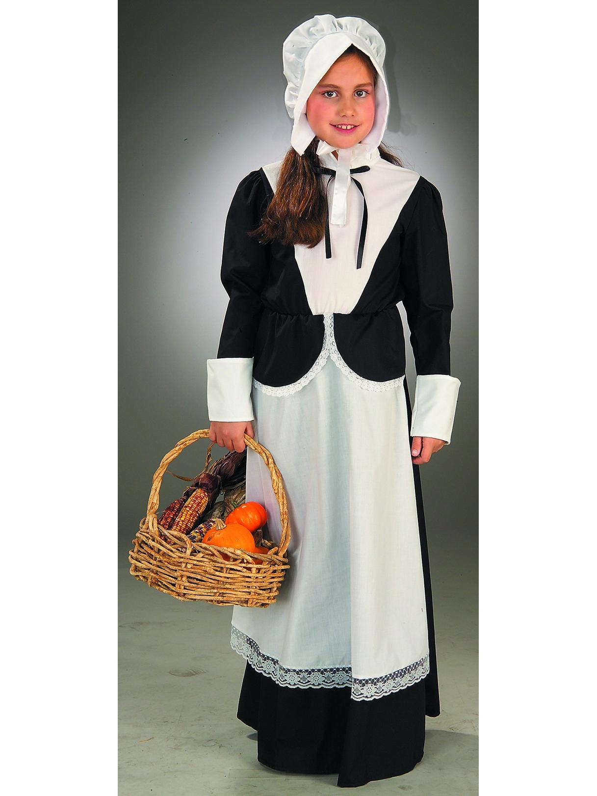 Pilgrim Set Girls Kids Colonial Halloween Thanksgiving Costume Accessory Kit