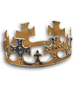 Plastic Jeweled Crown - Gold - One Size