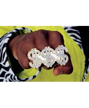 Triple Dollar Sign Ring for Big Daddy Pimp
