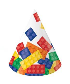 Boys Building Block Party Cone Hats - Multi-colored