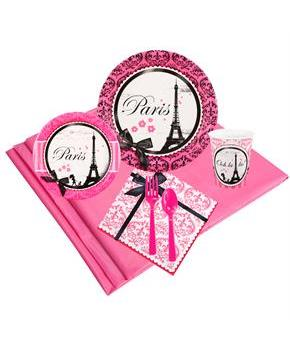 Girls Paris Damask 16 Guest Party Pack