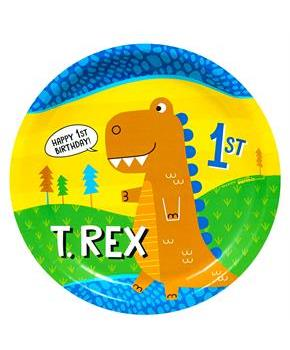 "T-Rex 1st Birthday 9"" Dinner Plate"