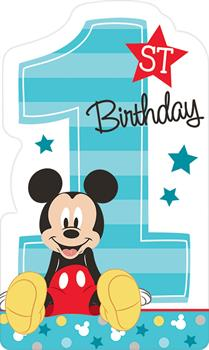Boys Disney Mickey Mouse 1st Birthday Invites