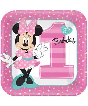Disney Minnie Mouse 1st Birthday Dinner Plates