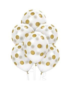 Adult White and Gold Dots Latex Balloons
