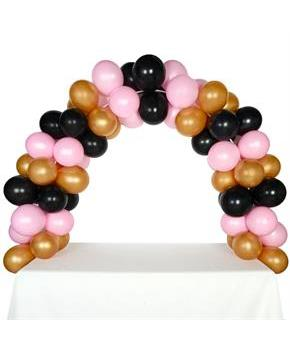 Celebration Tabletop Balloon Arch-Gold, Black & Pink