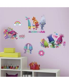 Trolls Movie Wall Decals with Glitter