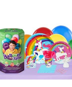 Girls Fairytale Unicorn Party 16 Guest Party Pack and Helium Kit