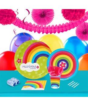 Rainbow Wishes 16 Guest Party Pack & Deco Kit