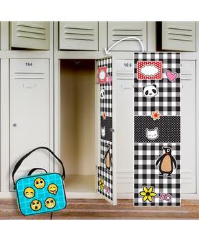 Black & White Plaid Locker Decal & Emoji Patches