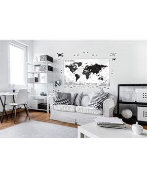 Black & White Plaid Map Giant Wall Decal