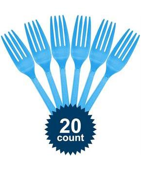 Bright Blue Plastic Forks