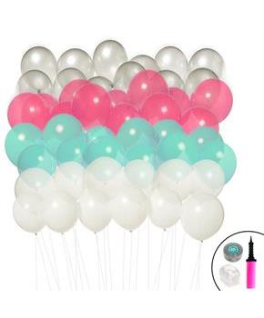 Ombre Balloon Kit (Mint, Pink, Silver & White) - Multi-colored