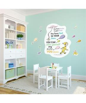 "Dr. Seuss Oh the Places You'll Go Inspirational Quote Giant Wall Decal 49"" x 39"""