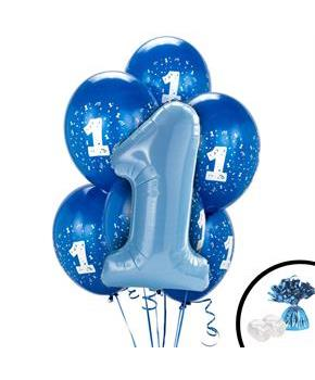 Boys Blue 1st Birthday Balloon Bouquet - Multi-colored