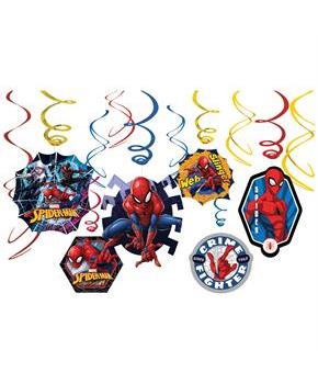 Spiderman Foil Swirl Hanging Decorations (Each)