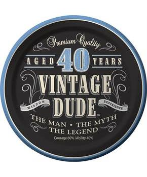 Vintage Dude 40th Cake Plate 7 (8 Pack)