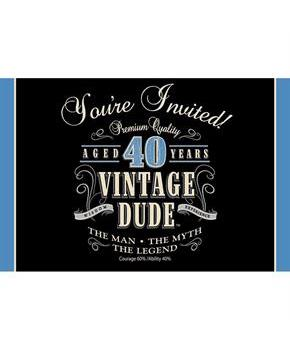 Vintage Dude 40th Invitation (8 Pack)