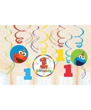 Elmo Turns One Swirl Decorations (12)