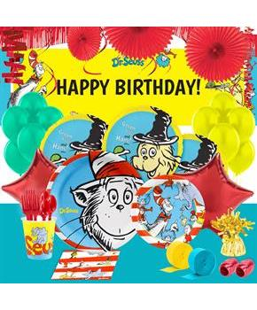 Dr Seuss Cat in the Hat Theme 5pc Happy Birthday Supershape Foil Balloon Bouquet