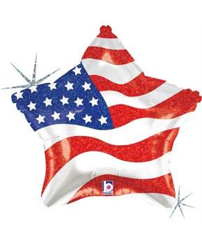 Patriotic Star 19 Foil Balloon (each)
