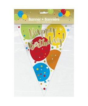 Glitzy Gold Birthday Flag Banner - 12Ft