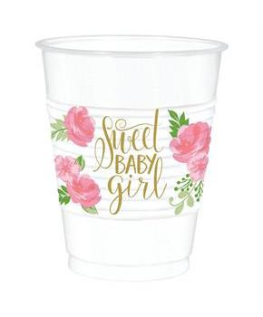 Floral Baby Plastic Party Cups 25