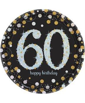 "Sparkling Celebration Plate 7"" Dessert Plates 60th (8)"