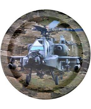 "Military Camo Apache Helicopter Party 9"" Lunch Plates (8)"