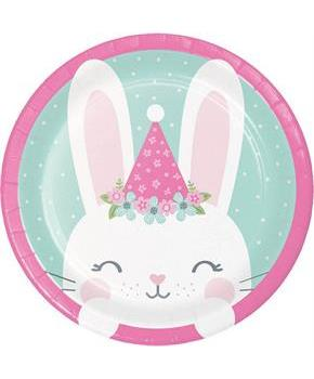 "1st Birthday Bunny Plate 7"" Dinner Plate (8)"