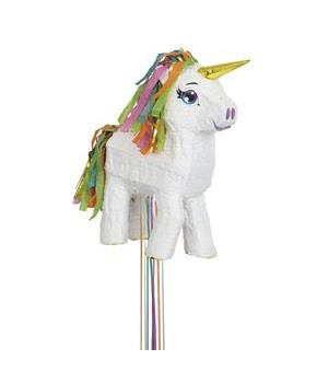 White Unicorn 3-D Pull String Pinata