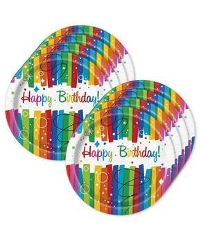 "Rainbow Ribbons Birthday 9"" Plates (24)"