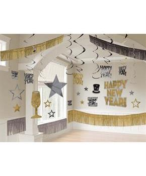 New Years's Giant Black Silver & Gold Room Decorating Kit