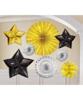 Starburst Foil Black Silver & Gold Decoration Kit