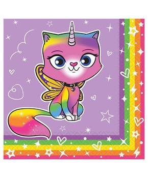 Rainbow Butterfly Unicorn Kitty Beverage Napkins (16)