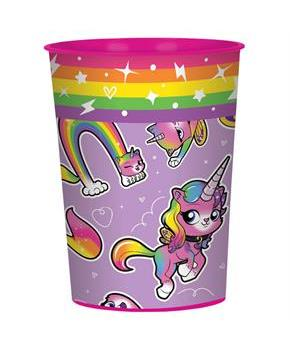 Rainbow Butterfly Unicorn Kitty 16oz Plastic Favor Cup (1)