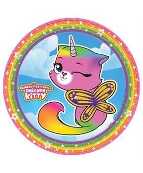 Rainbow Butterfly Unicorn Kitty 9 Plates (8)
