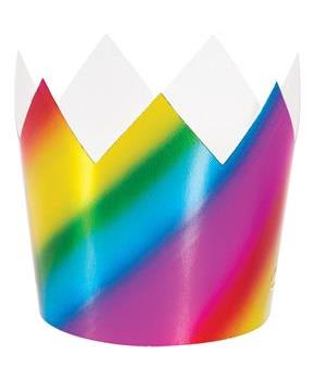 Rainbow Foil Plastic Crowns (8)