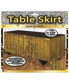 Gold Tinsel Table Skirt