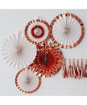Ginger Ray Rose Gold Assorted Foiled Fan Decoratio