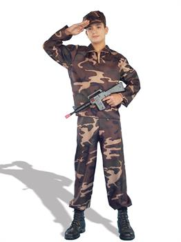 Boys Army Soldier Teen Costume - Brown/Green - Teen